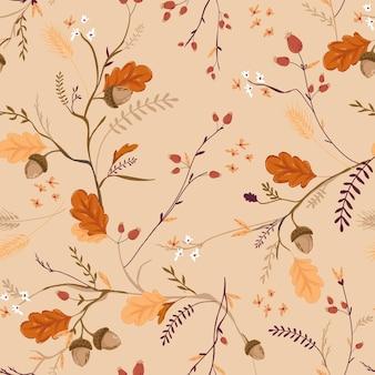 Reticolo senza giunte floreale di autunno con ghiande, foglie e fiori. autunno sfondo natura vintage per tessuto, carta da parati, stampa, decorazione, carta da imballaggio. illustrazione vettoriale