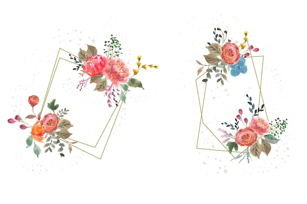 Cornice acquerello floreale autunnale