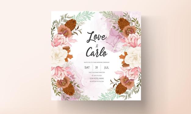 Biglietto d'invito per matrimonio floreale autunnale con rosa e fiore di pino