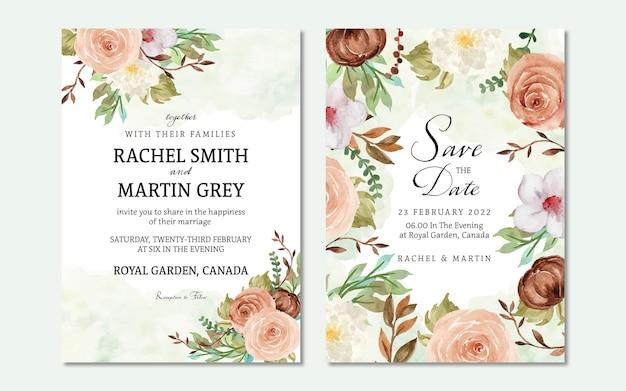 Invito a nozze floreale autunnale impostato con sfondo macchia acquerello