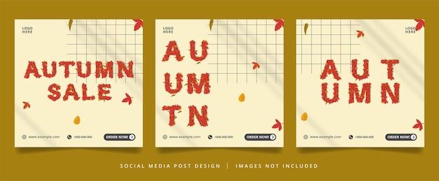 Volantino autunnale o banner per social media con effetto di testo modificabile