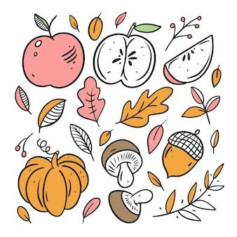 Insieme di elementi di cibo autunnale line art stile colorato schizzo disegnato a mano doodle