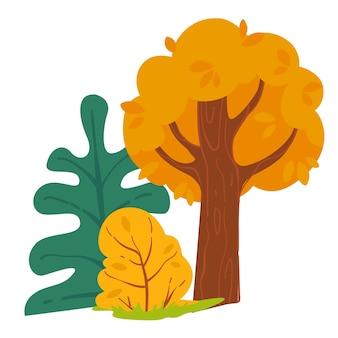 Bosco autunnale con pino e cespugli con foglie secche. paesaggio nella stagione autunnale, flora boschiva isolata delle piante dei boschi. abete sempreverde e rami frondosi di quercia, vettore in stile piatto