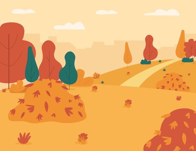 Illustrazione piana semi del giardino di autunno. parco cittadino con mucchio di foglie per far giocare i bambini. centro città con alberi di arancio, luogo di svago. paesaggio autunnale stagionale dei cartoni animati 2d per uso commerciale