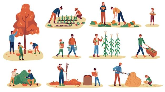 Raduno autunnale. uomini, donne e bambini che raccolgono frutta, verdura e bacche. accatastamento del fieno, set di vettori di stagione del raccolto di lavoro. illustrazione che raccoglie l'autunno del raccolto, la raccolta dell'agricoltura