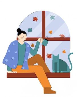 Autumn girl, tea e cat