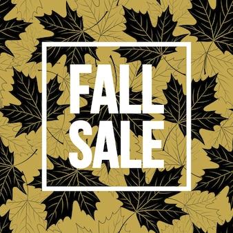 Iscrizione scritta a mano d'autunno. colore dorato, bianco e nero. disegno della bandiera di vendita autunnale. illustrazione vettoriale eps10