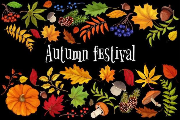 Modello di festival del raccolto autunnale con foglie di bosco, bacche, funghi. poster autunnale