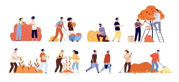 Raccolto autunnale. orto di frutta. scene di agricoltura stagionale, lavoratori piatti e raccolto. contadina, persone che lavorano illustrazione vettoriale. fattoria agricola, giardinaggio e autunno, raccolta del raccolto