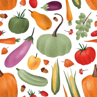 Reticolo senza giunte del raccolto autunnale. frutta e bacche di verdure mature
