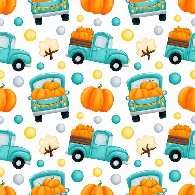 Reticolo senza giunte di tempo del raccolto autunnale. camion dell'azienda agricola verde con zucche arancioni e reticolo senza giunte di cotone.