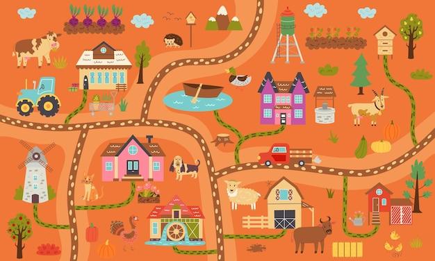 Mappa di fattoria rustica orizzontale autunnale. villaggio costruttore di mappe, animali da fattoria, ranch. design della scuola materna per poster, tappeti, camera dei bambini. illustrazione di tiraggio della mano di vettore