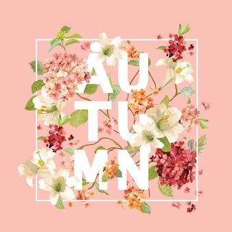 Disegno di sfondo di fiori di ortensia autunno. t-shirt grafica, stampa di moda.