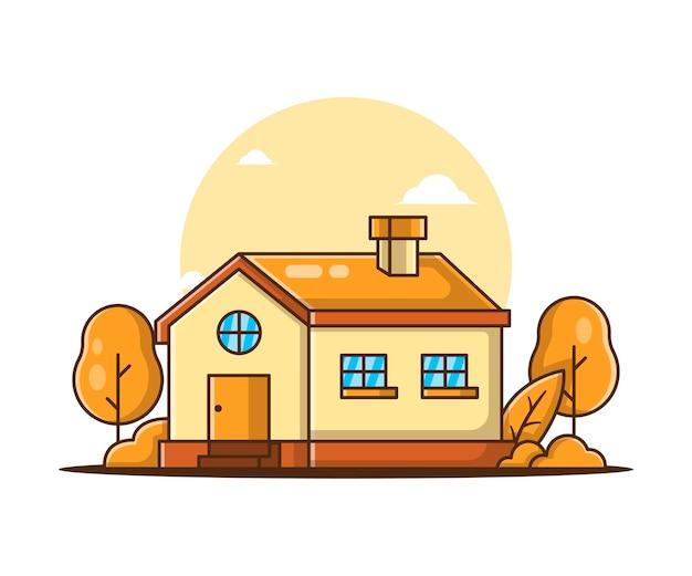 Cartone animato casa d'autunno