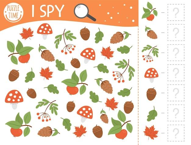 Autunno gioco di spionaggio per bambini. attività di ricerca e conteggio per bambini in età prescolare con graziose piante autunnali. foglio di lavoro stampabile divertente per i bambini. semplice puzzle per individuare il ringraziamento.