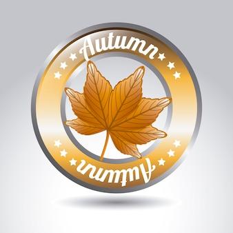 Icona di autunno sopra illustrazione vettoriale sfondo grigio