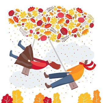 Illustrazione di autunno con altalene e caduta delle foglie.