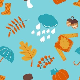Articoli autunnali senza cuciture maglione ombrello fungo foglie gocce di pioggia e stivali