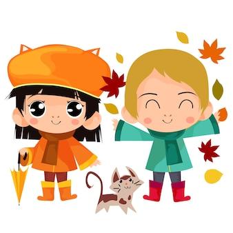 Fumetto dei bambini di autunno