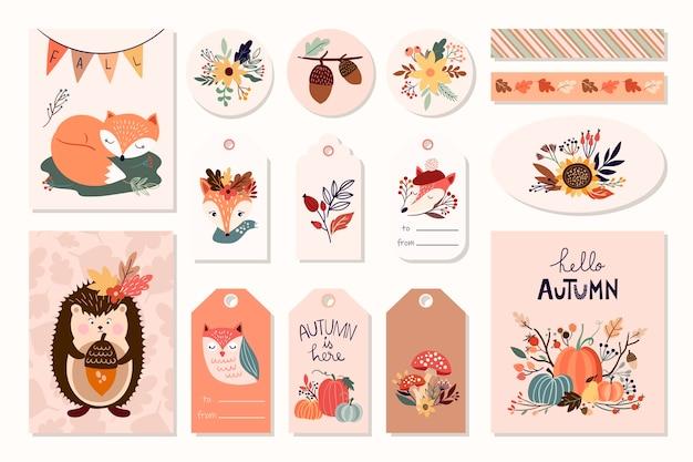 Etichette autunnali, distintivi, magneti, biglietti di auguri con elementi carini, design disegnato a mano