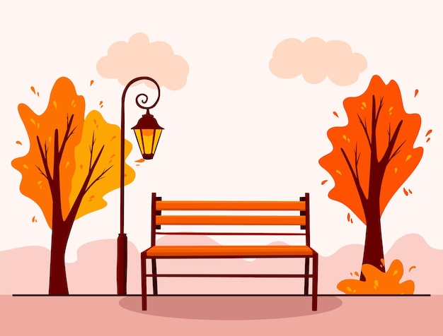Paesaggio autunnale. sfondo. parco cittadino. panchina del parco, lanterna. stile cartone animato. illustrazione vettoriale per design e decorazione. Vettore Premium