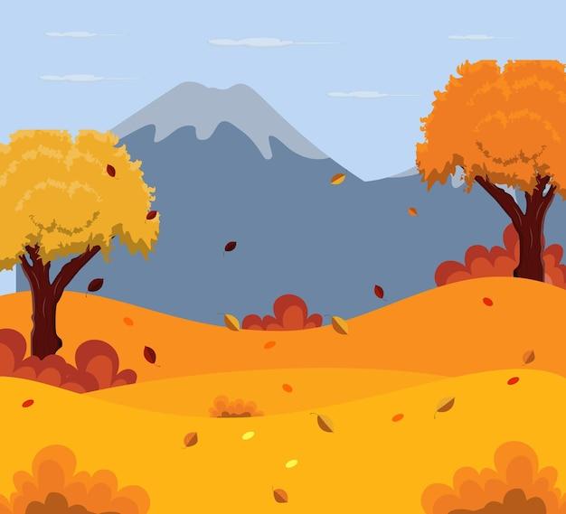 Sfondo del paesaggio autunnale con la montagna