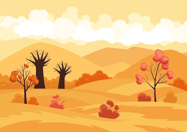 Campo di paesaggio autunnale con alberi e fogliame giallo caduto. .