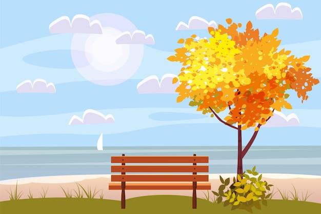 Paesaggio autunnale sul mare, oceano, albero, panca in legno, panorama di barche a vela, umore autunnale