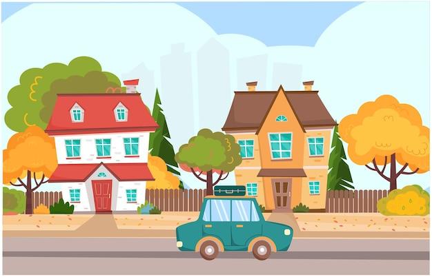 Paesaggio autunnale in città con case colorate e auto l'auto con la valigia sta guidando sulla strada