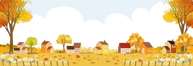 Paesaggio di autunno nel villaggio, paesaggio rurale dell'illustrazione nel paese con casa colonica, vista panoramica del paese di scena del villaggio nella stagione autunnale Vettore Premium