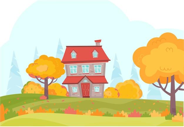 Paesaggio autunnale con simpatici alberi di casa cespugli foresta foglie autunnali colorate