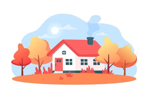 Paesaggio autunnale con una casa e alberi