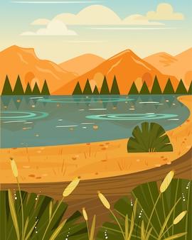 Paesaggio autunnale con lago, cespugli e montagne. vista panoramica pittoresca