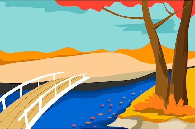 Paesaggio autunnale con lago o stagno e ponte