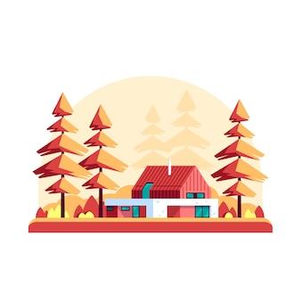 Paesaggio autunnale con alberi di pino e moderna villa isolata su sfondo bianco.