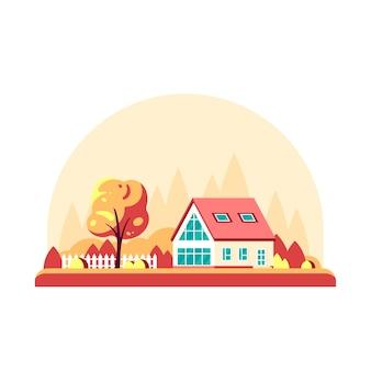 Paesaggio autunnale con alberi e casa di campagna isolata su sfondo bianco.