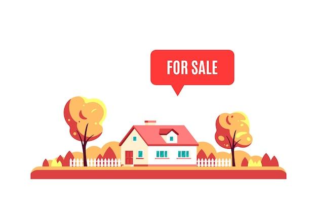 Paesaggio autunnale con alberi, casa di campagna e segno in vendita isolato su sfondo bianco.