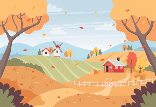 Paesaggio autunnale con case di campi di alberi e mulino a vento