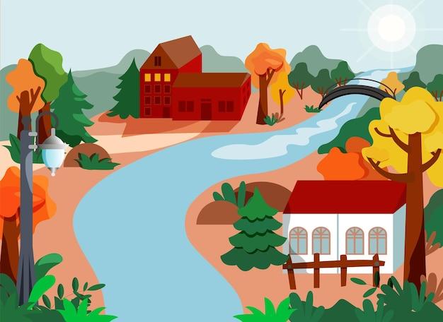 Paesaggio autunnale con casa in legno foglie stile design piatto albero e fiume