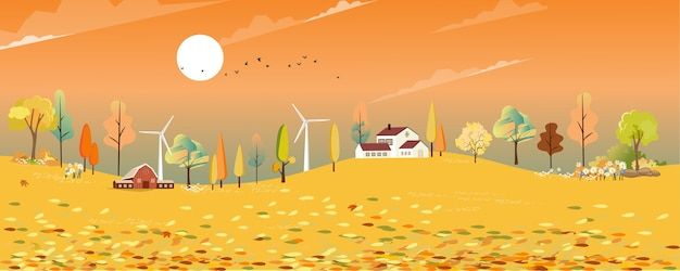 Paese delle meraviglie del paesaggio autunnale nel villaggio con campi di fattoria