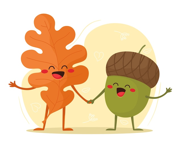 Foglia d'autunno e ghianda insieme. ciao autunno. illustrazione in stile cartone animato piatto.
