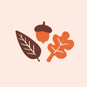 Simbolo di foglia d'autunno post di social media vector illustration