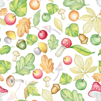 Foglie di autunno, ghiande, funghi, funghi velenosi, agarichi mosca, mele, arance, ciliegie, su uno sfondo isolato. reticolo senza giunte dell'acquerello, su un fondo isolato.