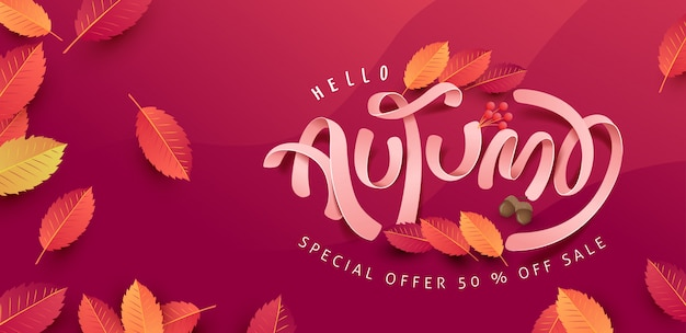 Sfondo di foglie d'autunno. caratteri stagionali. banner di vendita di promozione della stagione autunnale.