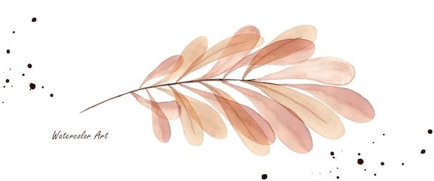 Foglie di autunno rami acquerello trasparente isolato su priorità bassa bianca. acquerello botanico artistico dipinto a mano. perfetto per inviti, biglietti di auguri o decorazioni murali.