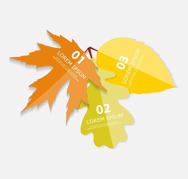 Modelli di infographic di foglie di autunno per l'illustrazione di vettore di affari. eps10