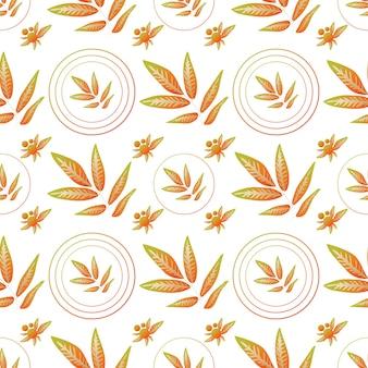 Foglie d'autunno senza cuciture ramoscelli autunnali astratti con foglie in cerchi geometrici infiniti ornati