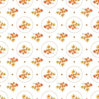 Foglie d'autunno senza cuciture foglie di castagno autunnali arancioni sui rami in forme circolari
