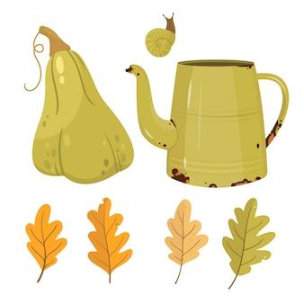 Illustrazione delle foglie e della zucca di autunno. stagione autunnale.