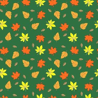 Modello senza cuciture delle foglie di autunno su fondo verde, illustrazione di vettore